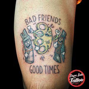 Bad friends good times #tattoo #tattooart #tattooartist #colortattoo #newschool #newschooltattoo