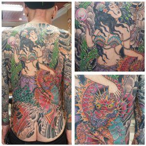 Japanese backpiece geisha pearl shells mermaid seaweed dragon sea horse water clouds windbars