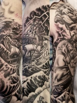 #Neptune #posiedon #ship #storm #lightning #blackandgrey #waves #trident