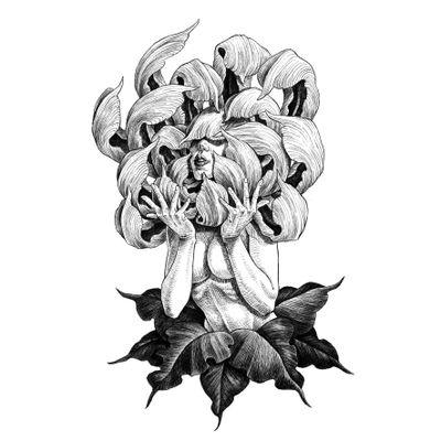 Available. #blackwork #linework #flash #design #drawing #illustration #chrysanthemum #lady #woman #flower #illson #illsontattoo