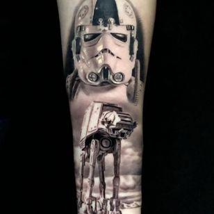 Star Wars tattoo by Pony Lawson #PonyLawson #realismtattoo #realismtattoos #realism #realistic #hyperrealism #tattooideas #starwars #blackandgrey #stormtrooper #ATAT #weapon #desert #arm