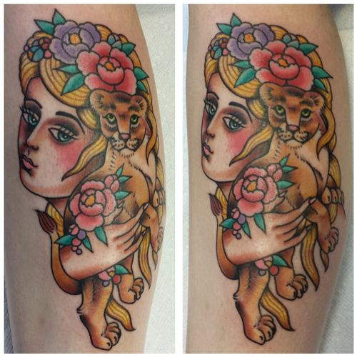 Traditional American girl head bust blonde holding lion cub hand flowers peonies