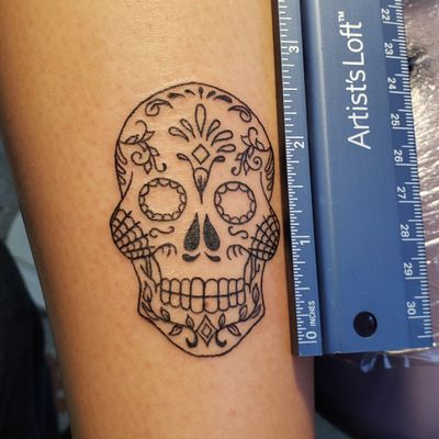 She finally came back for the other 2.5 inch sugar skull. If you're looking for a new tattoo, Call the shop at 810-695-3333(ask for Jesse), Text only 313-442-3047(My tablet), or DM me. Please like and follow me @tattooedbyjesse FB, IG, SC, pinterest and www.facebook.com/tattooedbyjesse #TattooedByJesse #ComeGetSomeInk #LoyaltyTattooCompany #DynamicBlack #Tattoo #Tattoos #MichiganTattooArtists #MichiganPiercers #Tattooed #xion #xiontattoomachine #sugar #skull #sugarskull #tiny #small #twoandahalfinches #fine #line #fineline