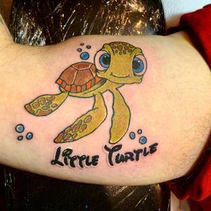 """Little turtle"" (squirt) tattoo #nyctattoo #queenstattoo #squirt #disney #findingnemo"