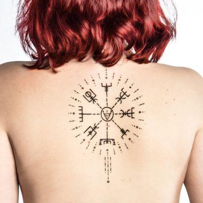 #vegvisir #NordicTattoo #vikingtattoo #Vikings #blackandgreytattoo #black #backtattoo #compass #vikingcompass #morsecode #blackandgrey #viking #backpiece #back