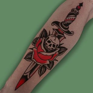 Traditional rose tattoo by Austin Maples #AustinMaples #traditionalrosetattoo #traditionalrose #rosetattoo #traditionaltattoo #traditional #flower #floral #plant #color #skull #sword #dagger #death