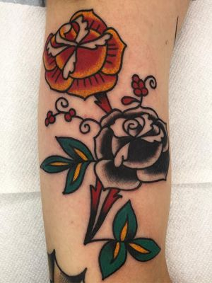 Traditional rose tattoo by Jeff Sypherd #JeffSypherd #traditionalrosetattoo #traditionalrose #rosetattoo #traditionaltattoo #traditional #flower #floral #plant #color