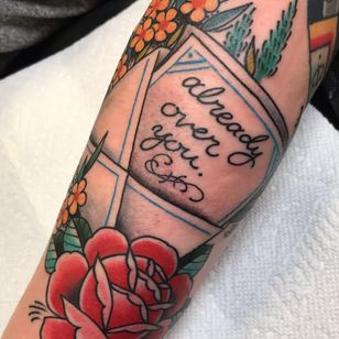 Traditional rose tattoo by Beau Brady #BeauBrady #traditionalrosetattoo #traditionalrose #rosetattoo #traditionaltattoo #traditional #flower #floral #plant #color #envelope #script #letter