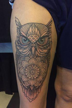 #owl #linework #tattoo #tattoos #upperlegtattoo #tatt #cultartshop #nijverdal #nl #aaltink #tattoogj #gja