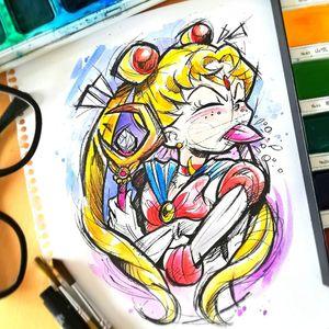 Available Design for Barcelona @guilleryan.arttattoo guilleryanarttattoo@gmail.com #sailormoon #usagitsukino #handmadeart #animetattoos #watercolortattoo #geektattoos #frikitattoos #gamer #sketchtattoo #watercolor #watercolorartist #watercolortattooartist