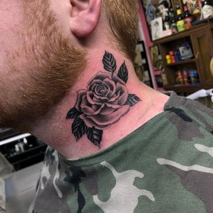 Traditional rose tattoo by Ross Nagle #RossNagle #traditionalrosetattoo #traditionalrose #rosetattoo #traditionaltattoo #traditional #flower #floral #plant #blackandgrey