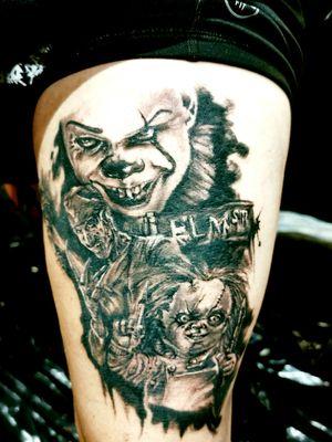 Workinprogress...,done at Empire State Tattoo Convention New York. #horrortattoo #horrorart #lilithdivineartist #madnesscircus #blackandgrey #DarkArt #darkartists #newyorktattoo #horrormovies #inked
