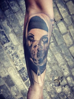 some parts fresh/some healed #nun #nuntattoo #blackngrey #blackngreytattoo #tattoodo #kwadroncartridges #armtattoo