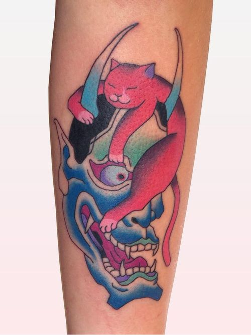 Cat and Hannya tattoo by Brindi #Brindi #TattoodoApp #TattoodoApptattooartist #tattooartist #tattooart #tattooidea #inspiringtattoo #besttattoo #awesometattoo #hannya #cat #japanese #color #arm