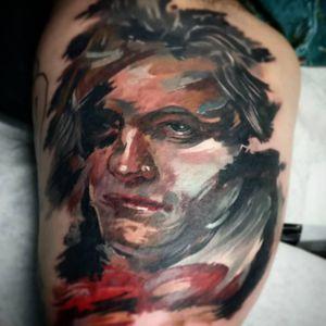 Beethoven tattoo by Mario Gregor #MarioGregor #TattoodoApp #TattoodoApptattooartist #tattooartist #tattooart #tattooidea #inspiringtattoo #besttattoo #awesometattoo #painting #Beethoven #portrait #arm