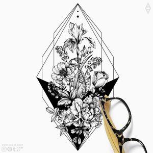 Simple. Floral. More designs on my Instagram (the_rawflow) and my website: www.rawaf.shop ✨ #floral #flower #black #blackwork #dotwork #blackandgrey #geometric