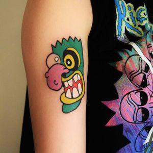Courage the cowardly dog... #couragethecowardlydog #eustacebagge #nativeamerican #tribalmask #oogaboogabooga #cartoontattoo #practice #learning #learningtotattoo #everythingispossible #tattoos #tattoolifestyle #tattoonewbie #ink #daretochange #daretobedifferent #beginertattooartist #tattooworkers #inkstagram #tattoosession #myinkprints2019