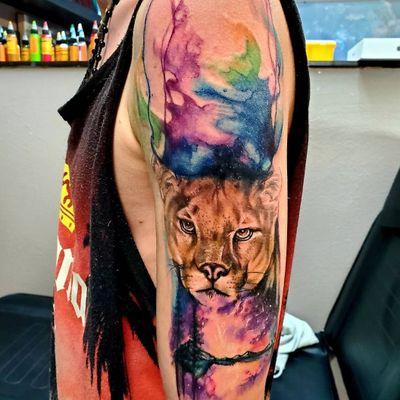 #pnwtattoo of #cougar and #watercolortattoos #wildlifetattoo #mountainlion #watercolortattoo #abstractattoo #animaltattoo