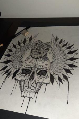 Calavera  #arte #dibujo #drawing #calavera #CalaveraTattoo #skull #colombia #diseño #alas #wings #rosa #flor #dibujolapiz