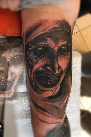 #horror #horrortattoo #Poland #Spain #spaintattoo #polandtattoo #nun #creepy #colortattoo #color #tat #tattooart #tattooartist #tat2 #tattoobody