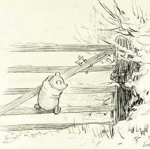 E.H. Shepard Winnie the Pooh drawing #winniethepooh #piglet