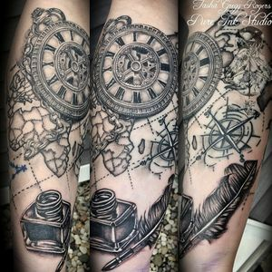 Half-sleeve in progress . . . #tattooingforjesus #tattoo #tattoos #blackandgrey #blackandgreytattoo #tattooart #blackandgreytattoos #tattoolife #ink #realistictattoo #realismtattoo #tattoorealistic #besttattoos #ladytattooers #michigantattooers #pocketwatch