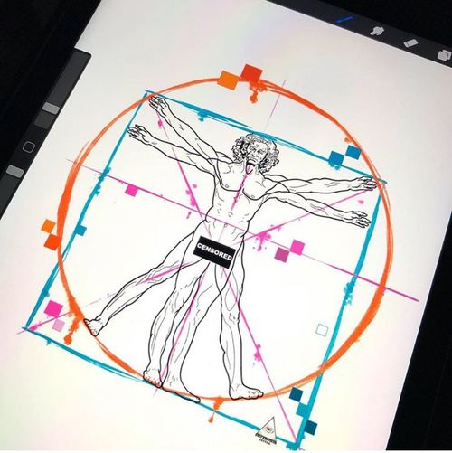 Minha versão do Homem Vitruviano do Leonardo da Vinci.  Informações e Orçamentos: (11)9.9377-6985 . . . . . #ericskavinsktattoo #vitruvianman #leonardodavinci #colortattoo #procreatetattooteam #procriaste #ipad2018 #apple #applepencil #geometrictattoo #tatuagemgeometrica #electricink #easyglowpigments #pfmachine #tattsketches #tattoopins #tattoo2me #tattoo2us #alphavilleearredores #tatuagem #centrocomercialalphaville #alphaville #sãopaulo #tattoodo