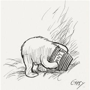 E.H. Shepard Pooh drawing #winniethepooh #hunny
