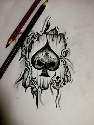 Skull playing cards& joker card. #skull #cards #flesh #black #Tattoos #Inked #design #Metal #Love #DemiLove