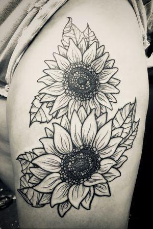 Sunflowers! #sunflowertattoo #blackworktattoo #illustrativetattoo #staugustinetattooartist #floridatattooartist