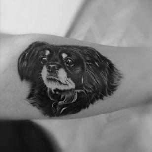 Dog tattoo by Diana Bite #DianaBite #dogtattoos #dogtattoo #dog #animal #petportrait #pet #love #family