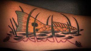 Fishing Tribute EKG Tattoo on the Forearm