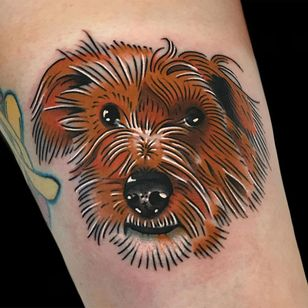 Dog tattoo by Alex Zampirri #AlexZampirri #dogtattoos #dogtattoo #dog #animal #petportrait #pet #love #family