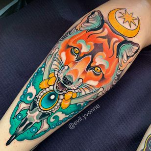 Tattoo by Evil Yvonne @iwona_kozlarzewska #foxtattoo #foxneotraditional #fox #foxneotrad #neotrad #neotraditional