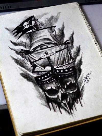 Tatuagens com horário marcado ⌚️Orçamentos e agendamentos pelo WhatsApp ☎️ (11) 973701974 ou pela página do estúdio no Facebook : @mementomoritattoostudio 💀⏳🕯Estamos localizados próximo ao metrô Tucuruvi 🚇 #caravel #caravela #skull #caveira #pirate #pirata # blackandgray #tattoosketch