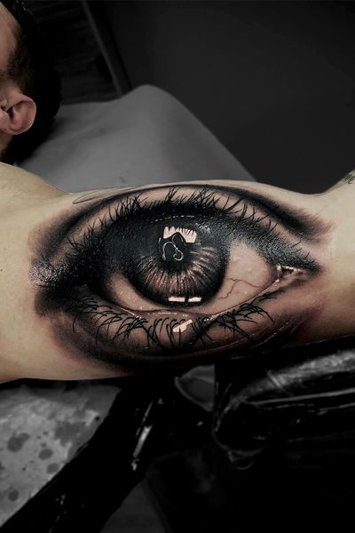 #eye #eyeball #ball #marcopikass #pikass #pik #ass #tattoo #pikasstattoo #germany #realistic #realism #real #3d #cry #crying #bng #black #grey #blackngrey #arm #armtattoo #cover #coverup #up