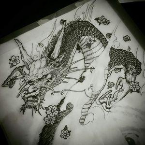 Neotraditional dragon  #black #blackandgrey #draw #japanese #dragon #neotraditional