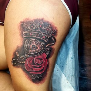 Block and Red Realistic thing Tattoo