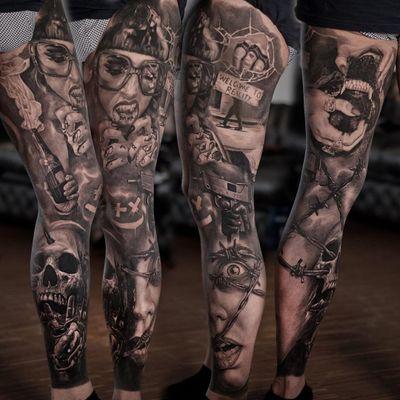Sleeve tattoo by Dmitriy Kislovskiy #DmitriyKislovskiy #sleevetattoos #legsleeve #armsleeve #sleeve #fullsleeve #halfsleeve #tattooidea #realism #realistic #hyperrealism #horror #darkart #dog #skull #barbedwire