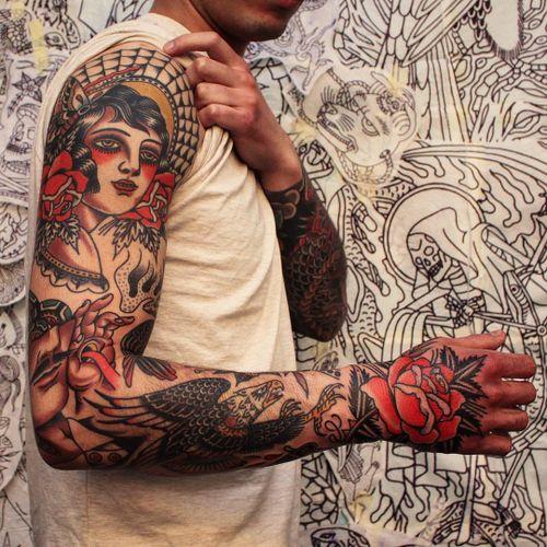 Sleeve tattoo by Joel Soos #JoelSoos #sleevetattoos #legsleeve #armsleeve #sleeve #fullsleeve #halfsleeve #tattooidea #traditional #rose #eagle #ladyhead #handtattoo #spiderweb #butterfly #surreal