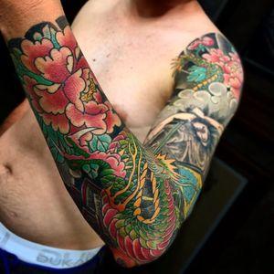 Japanese tattoo by Junior #Junior #Motorink #MotoinkFinestTattooing #Amsterdam #Amsterdamtattoo #Amsterdamtattoostudio #tattoostudio #tattooartists #tattooidea #besttattoo #cooltattoo #Japanese #sleeve #arm