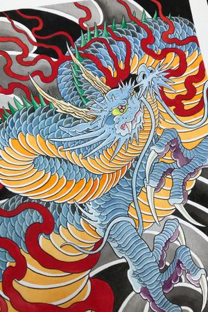 Section of a dragon painting i would lobe to turn into a tattoo. #japanese
