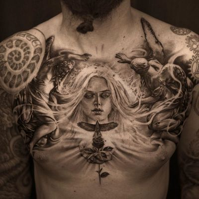 Angel tattoo by Niki Norberg #NikiNorberg #angeltattoo #angeltattoos #angels #wings #feathers #cherubs #religious #spiritual #blackandgrey #realism #realistic #eagle #rose #light #chest