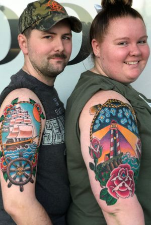 Couples tattoos, ship and lighthouse