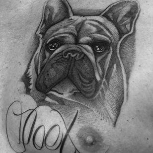 Dog tattoo by Celio #Celio #Motorink #MotoinkFinestTattooing #Amsterdam #Amsterdamtattoo #Amsterdamtattoostudio #tattoostudio #tattooartists #tattooidea #besttattoo #cooltattoo #dogtattoo #chest