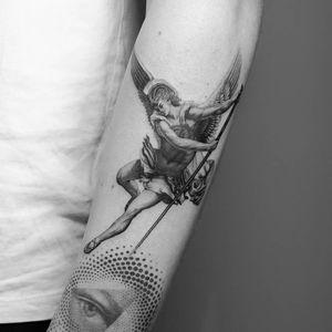 Angel tattoo by Amanda Piejak #AmandaPiejak #angeltattoo #angeltattoos #angels #wings #feathers #cherubs #religious #spiritual #blackandgrey #michael #arm