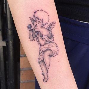 Angel tattoo by Nina Chwelos #NinaChwelos #angeltattoo #angeltattoos #angels #wings #feathers #cherubs #religious #spiritual #illustrative #flower #arm
