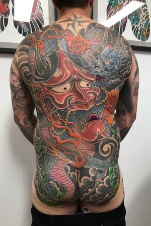One more session to go and tgis backpiece will be completed. Always honoured to work on such large pieces. Cheers. #japanese