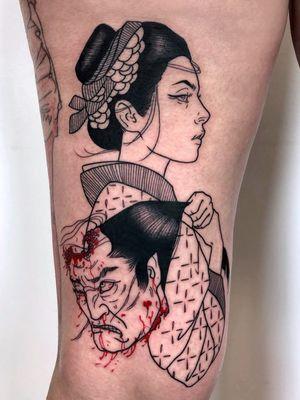 Cool tattoo by Silly Jane #SillyJane #TattoodoApp #TattoodoApptattooartist #tattooartist #tattooart #tattooidea #inspiringtattoo #besttattoo #awesometattoo #illustrative #japanese #namakubi #portrait #lady #leg