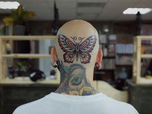 Cool tattoo by Andrei Vintikov #AndreiVintikov #WishParis #TattoodoApp #TattoodoApptattooartist #tattooartist #tattooart #tattooidea #inspiringtattoo #besttattoo #awesometattoo #scalp #head #neck #butterfly